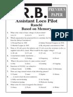 RRB Kolkata ALP Previous Year Paper