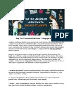 Top Ten Classroom Activities to Engage Students