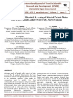 Physio-Chemical and Microbial Screening of Selected Potable Water Sold in the Nnamdi Azikiwe University, Nnewi Campus