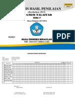 Analisis Hasil Penilaian Kelas 4 2017-2018