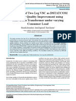 Application of Two Leg VSC as DSTATCOM for Power Quality Improvement using Star/ Delta Transformer under varying Consumer Load