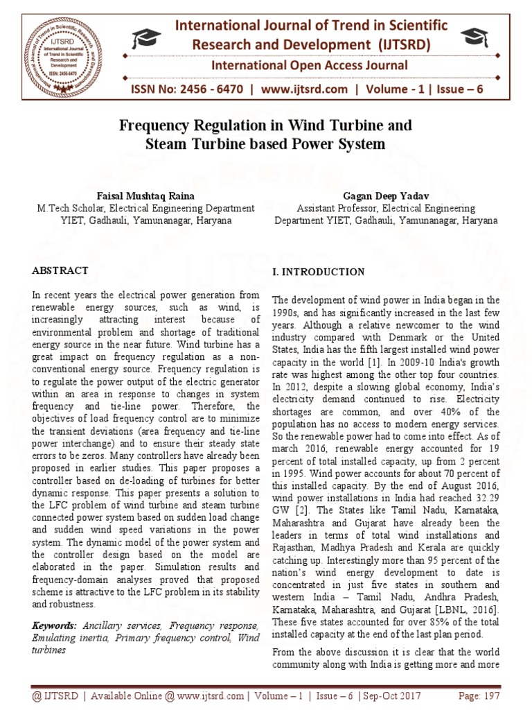 Frequency Regulation In Wind Turbine And Steam Based Power Having A Matrix On Generator Wiring Diagram System Control Theory