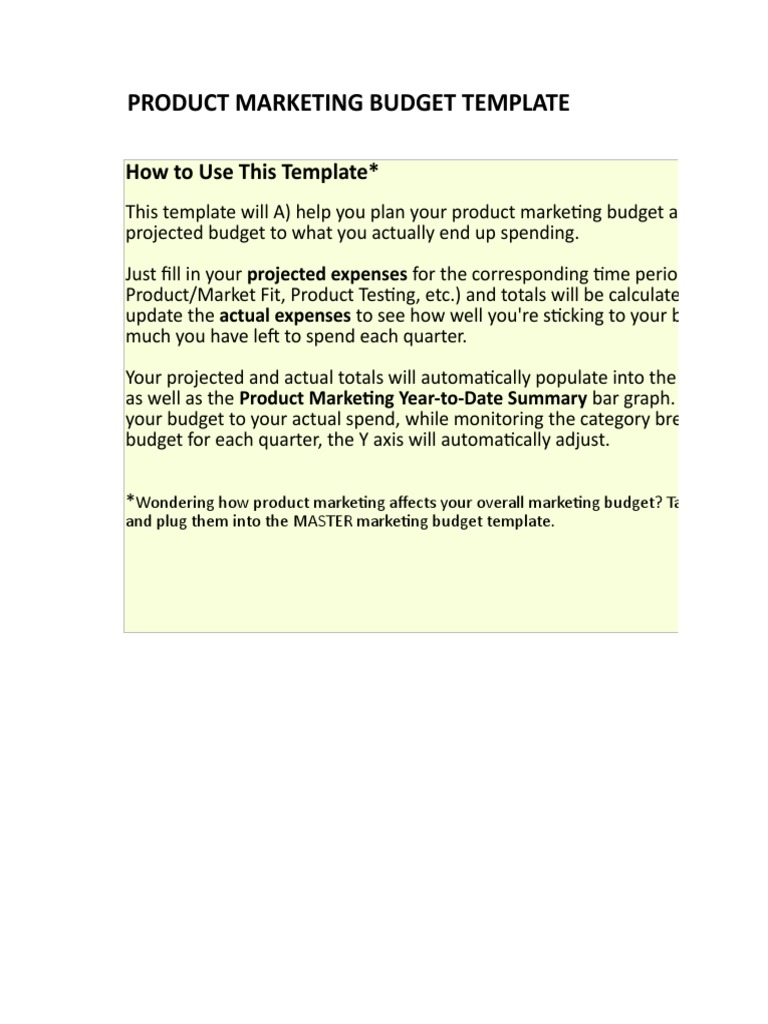 2 Product Marketing Budget Template Business Technology