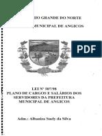 Lei 507-1998 - Plano de Cargos e Salários Dos Servidores Da Prefeitura Municipal de Angicos