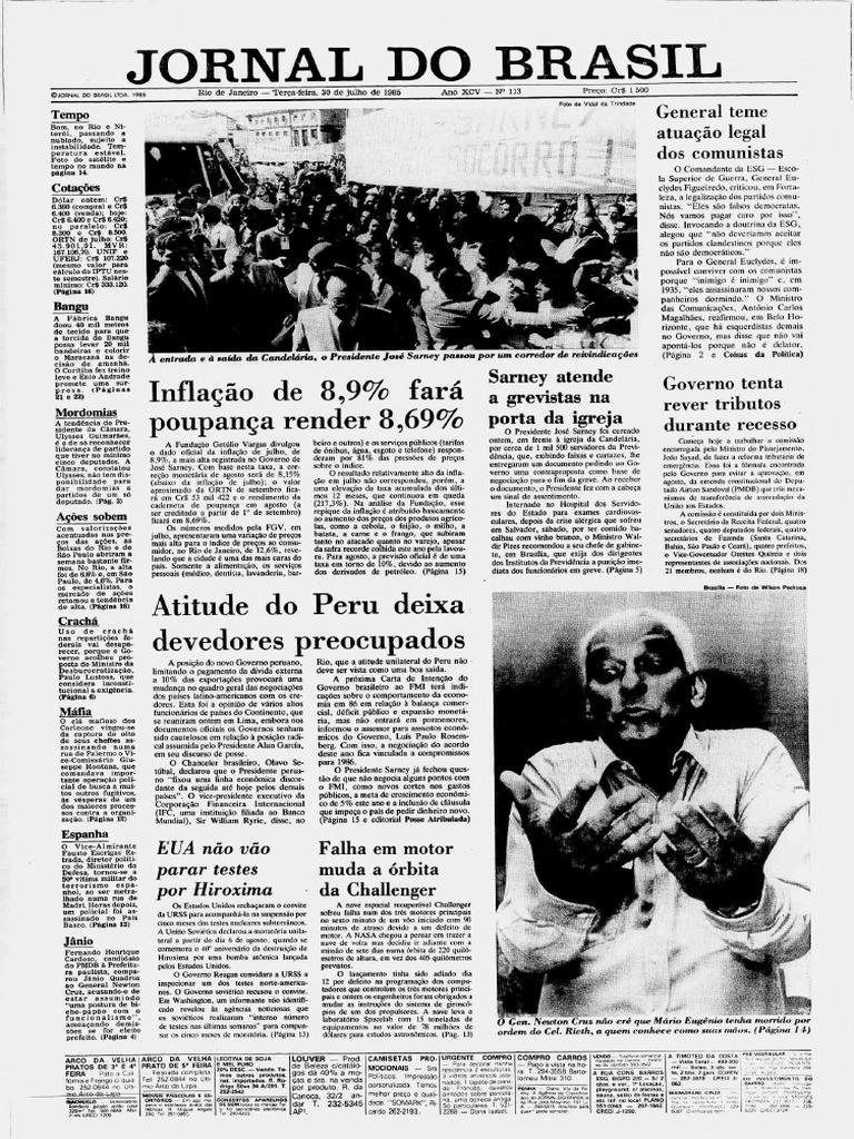89bccccc9 Fac Simile edição do Jornal Do Brasil 1985