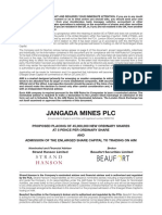 Jangada Mines Plc Admissions Document