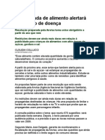 Propaganda de alimento alertará para risco de doença - alimentos industrializados, processados - saúde