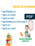 Exercises on the Workbook