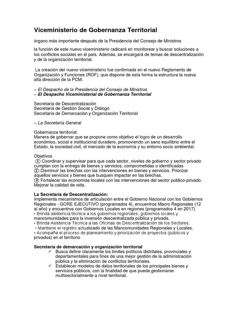 Viceministerio De Gobernanza Territorial Governance