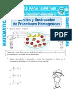 Adicion y Sustraccion de Fracciones Homogeneas Para Cuarto de Primaria