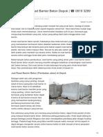 Distributor & Supplier Road Barrier Beton Megacon di Depok ☎ 0819 3299 8507