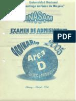 examen de admisión UNASAM ORD-2005-I-ÁREA D
