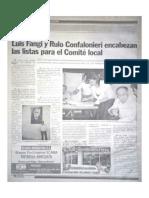Luis Fangi y Rulo Confalonieri encabezan las listas para el Comité local