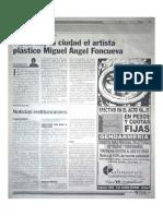 Visita hoy la ciudad el artista plástico Miguel Ángel Foncueva