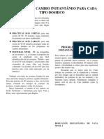 PROGRAMAS DE CAMBIO INSTANTÁNEO PARA CADA TIPO DOSHICO