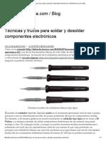 Técnicas y Trucos Para Soldar y Desoldar Componentes Electrónicos _ TallerElectronica