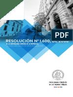 Trámite de toma de razón - Resolución N° 1.600