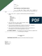 Affidavit of Disposal of Motorized Vehicle - Sample