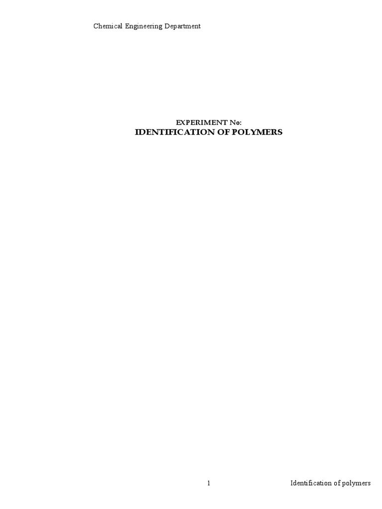 IDENTIFICATION OF POLYMERS doc | Thermoplastic | Plastic