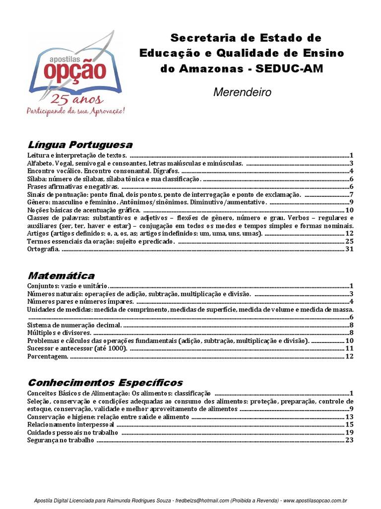 cb7ff6923 Apostila seducam - Merendeiro