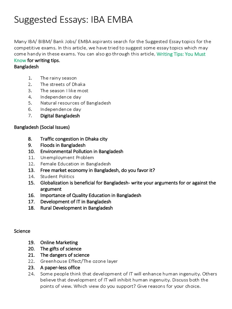 Suggested Essays | Essays | Master Of Business Administration