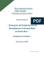 Informe Preliminar Posible Exceso Mortalidad Huracán María ( Puerto Rico) Univ. George Washington