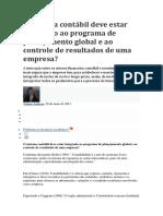 O Sistema Contábil Deve Estar Integrado Ao Programa de Planejamento Global e Ao Controle de Resultados de Uma Empresa