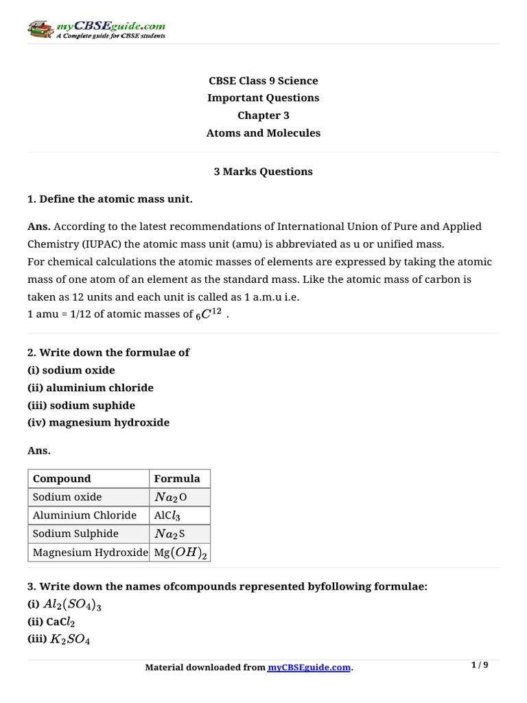 9_science_imp_ch3_3 pdf | Mole (Unit) | Chemical Elements
