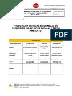 Programa Mensual de Charlas de 5 Minutos - Julio 2018