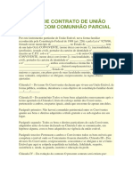 Modelo de Contrato de União Estável Com Comunhão Parcial de Bens