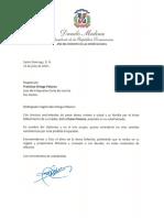 Carta de condolencias del presidente Danilo Medina al magistrado Francisco Ortega Polanco por fallecimiento de su madre, Chana Polanco