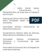 Discurso Canciller Miguel Vargas  en Condecoración Al Embajador de Israel Excelentísimo Señor Daniel Saban