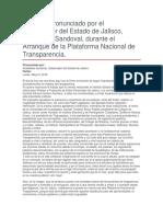 Arranque de La Plataforma Nacional de Transparencia