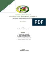 Clasificación de Los Presupuestos