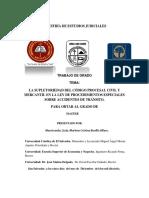 La Supletoriedad Del Código Procesal Civil y Mercantil en La Ley de Procedimientos Especiales Sobre Accidentes de Tránsito