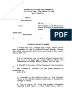 Complaint Affidavit for Libel