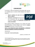 Comunicado acreditación semestre 2018-II