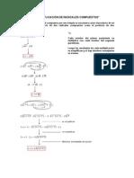 Multiplicación de radicales compuestos, racionalización del denominador
