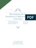 Metodología de La Enseñanza Y Aplicación Del Currículo
