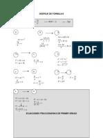 Despeje de fórmulas, ecuaciones fraccionarias de primer grado
