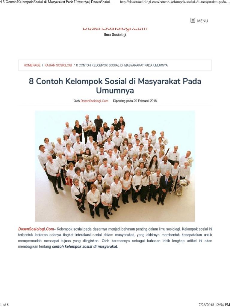 8 Contoh Kelompok Sosial Di Masyarakat Pada Umumnya Dosensosiologi Com Pdf