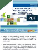 AUDIENCIA PUBLICA  FINAL 2012 E INICIAL 2013 DEL SECTOR HIDROCARBUROS Y ENERGIA