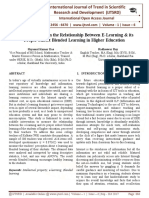 A Critical Study on the Relationship between E-Learning & its Proper Subset Blended Learning in Higher Education