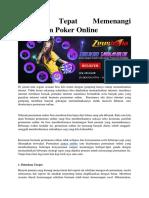 Strategi Tepat Memenangi Permainan Poker Online