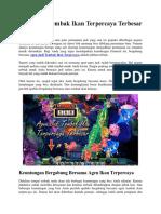 Agen Judi Tembak Ikan Terpercaya Terbesar Indonesia