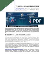Prediksi PSG vs Atlético Madrid 30 Juli 2018