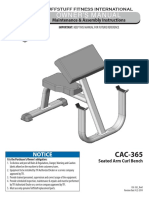 TuffStuff Seated Arm Curl Bench (CAC-365) Owner's Manual