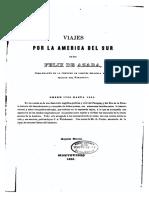 Viajes Por La America Del Sur de Don Felix de Azara - ANO 1850 - PORTALGUARANI 1