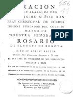 ORACION QUE EN ALABANZA DEL ILUSTRISIMO SENOR DON FRAY CHRISTOVAL DE TORRES INSIGNE FUNDADOR DEL COLEGIO MAYOR DE NUESTRA SENORA DEL  ROSARIO