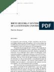Donoso, Breve Historia y Sentidode La Extensión Universitaria